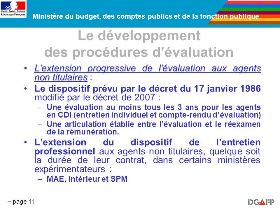Le développement des procédures d'évaluation