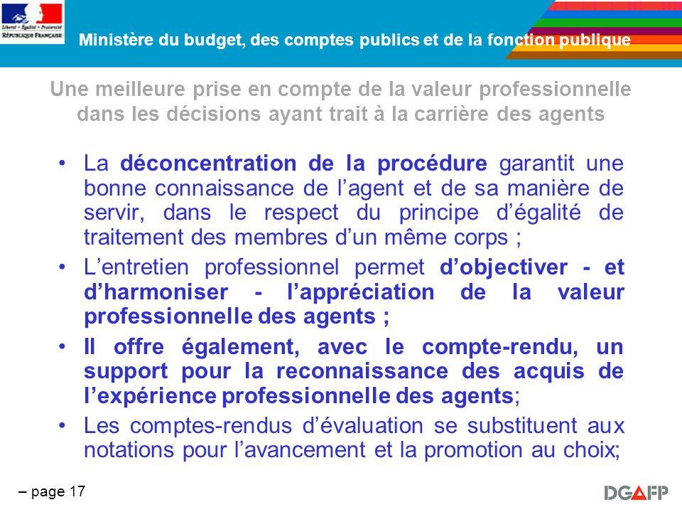 Une meilleure prise en compte de la valeur professionnelle dans les décisions ayant trait à la carrière des agents