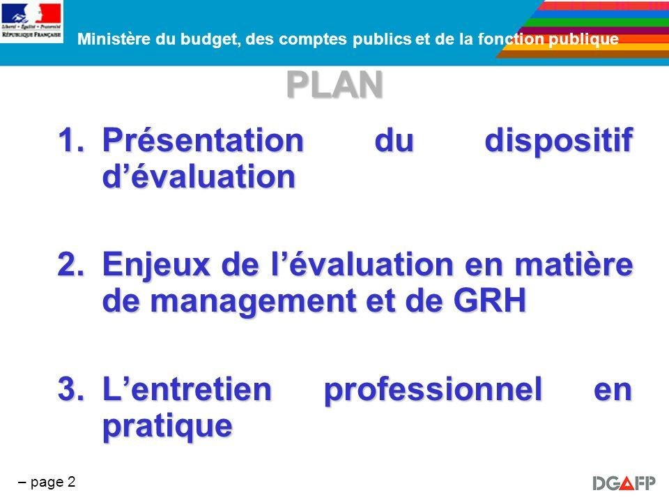 PLAN Présentation du dispositif d'évaluation