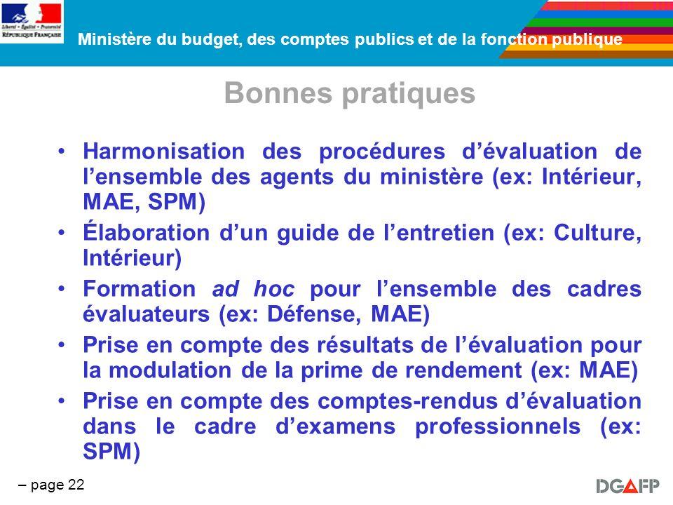 Bonnes pratiques Harmonisation des procédures d'évaluation de l'ensemble des agents du ministère (ex: Intérieur, MAE, SPM)