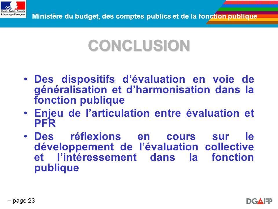 CONCLUSIONDes dispositifs d'évaluation en voie de généralisation et d'harmonisation dans la fonction publique.