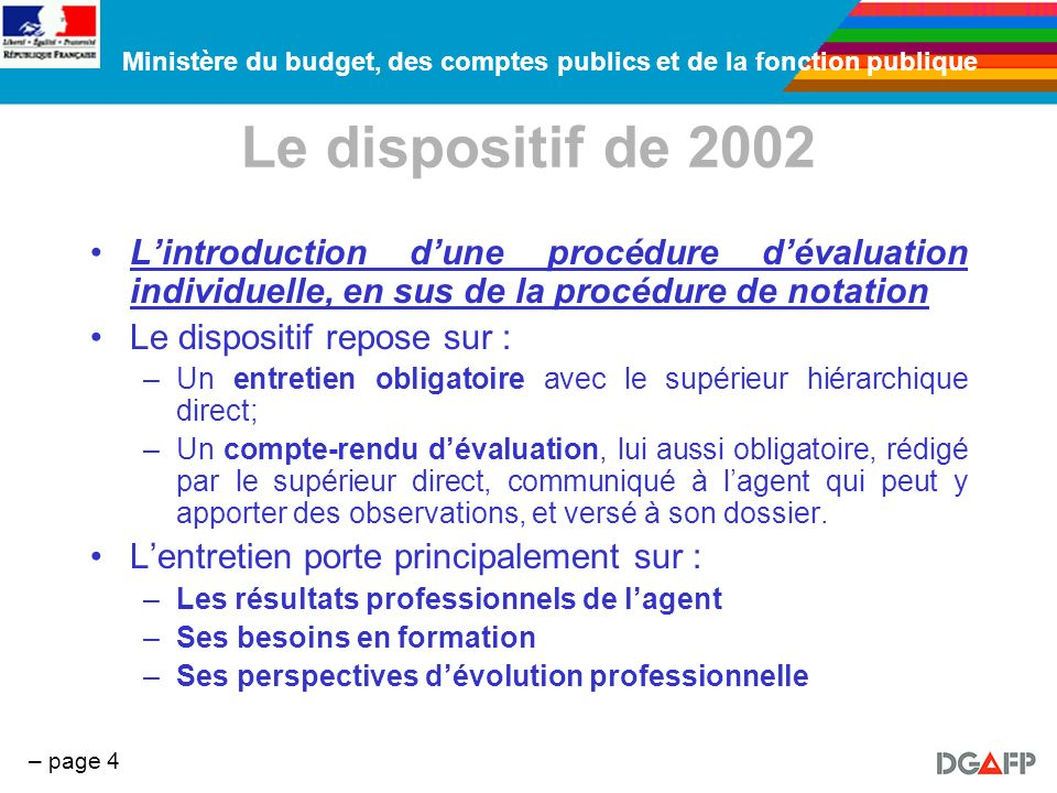 Le dispositif de 2002 L'introduction d'une procédure d'évaluation individuelle, en sus de la procédure de notation.