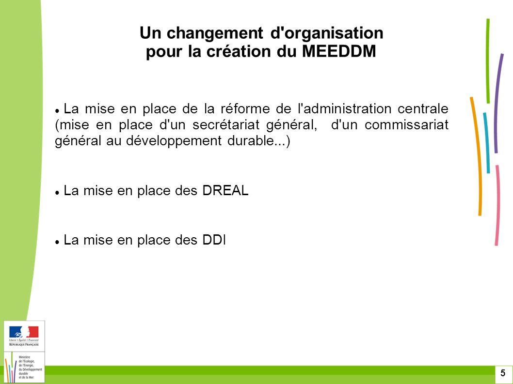 Un changement d organisation pour la création du MEEDDM