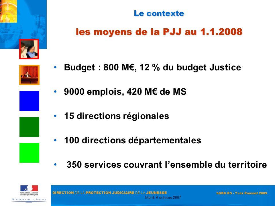 Le contexte les moyens de la PJJ au 1.1.2008