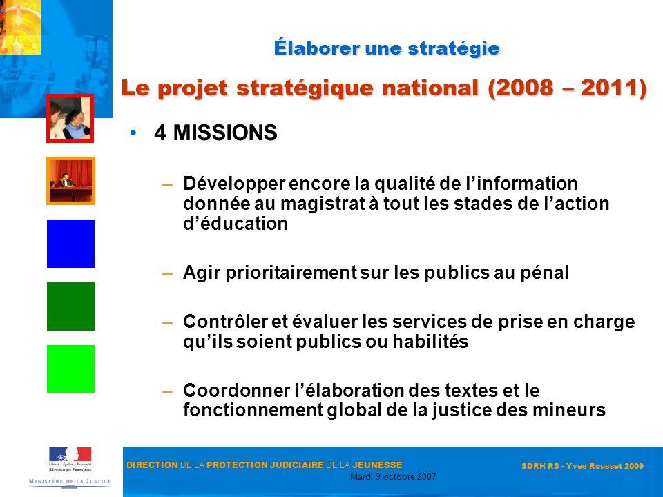 Élaborer une stratégie Le projet stratégique national (2008 – 2011)
