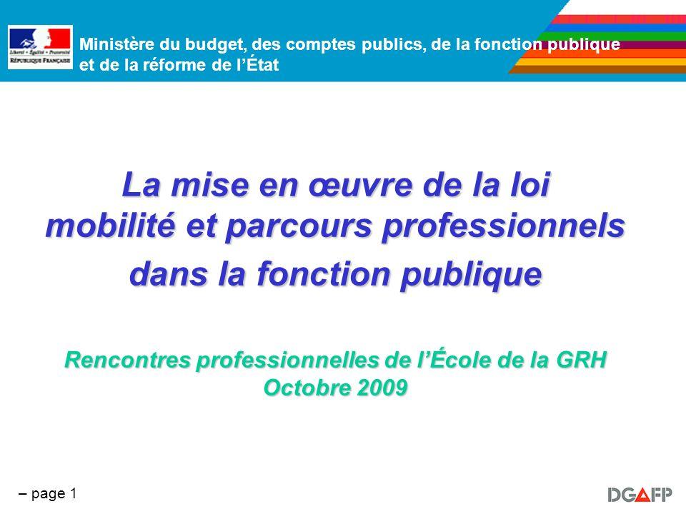 La mise en œuvre de la loi mobilité et parcours professionnels dans la fonction publique Rencontres professionnelles de l'École de la GRH Octobre 2009