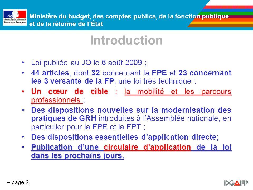 Introduction Loi publiée au JO le 6 août 2009 ;