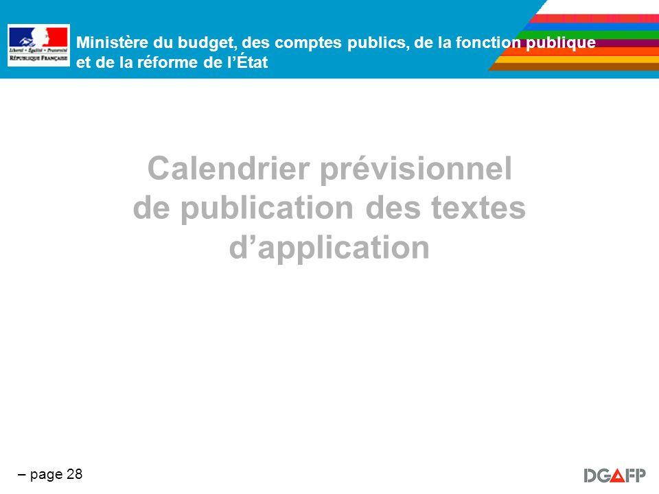 Calendrier prévisionnel de publication des textes d'application