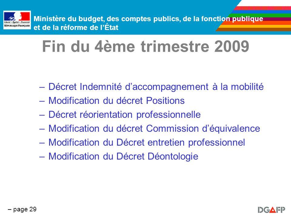 Fin du 4ème trimestre 2009 Décret Indemnité d'accompagnement à la mobilité Modification du décret Positions.