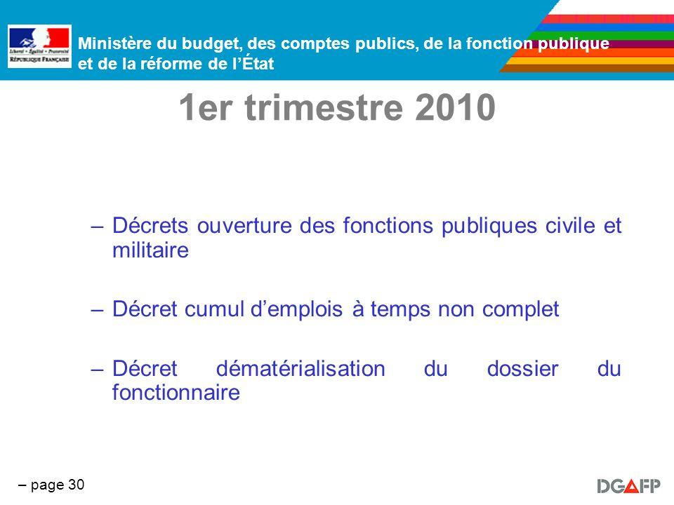 1er trimestre 2010 Décrets ouverture des fonctions publiques civile et militaire. Décret cumul d'emplois à temps non complet.