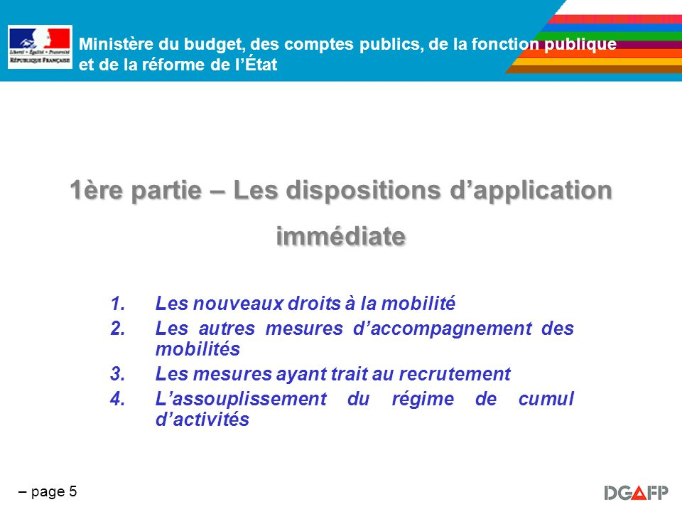 1ère partie – Les dispositions d'application immédiate