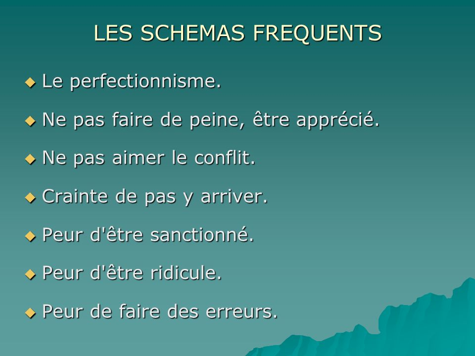 LES SCHEMAS FREQUENTS Le perfectionnisme.