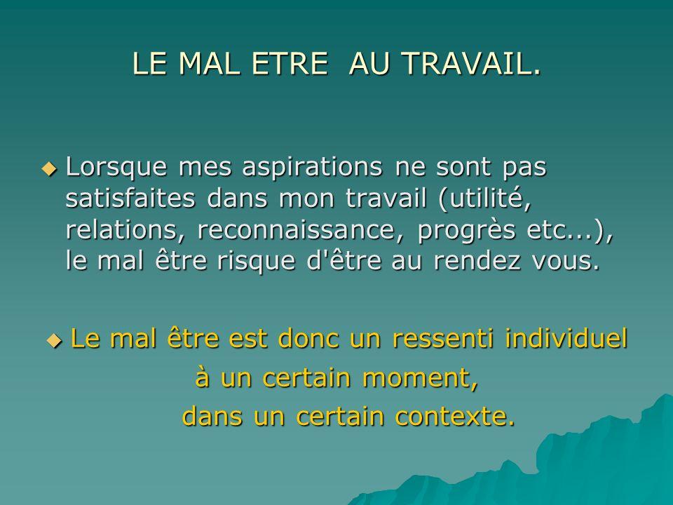 LE MAL ETRE AU TRAVAIL.