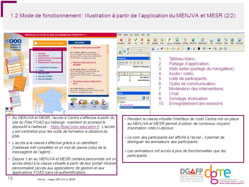 1.2 Mode de fonctionnement : Illustration à partir de l'application du MENJVA et MESR (2/2)