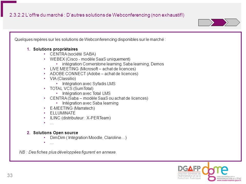 2.3.2.2 L'offre du marché : D'autres solutions de Webconferencing (non exhaustif!)