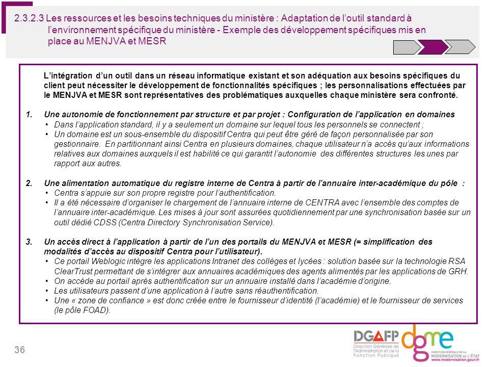 2.3.2.3 Les ressources et les besoins techniques du ministère : Adaptation de l'outil standard à l'environnement spécifique du ministère - Exemple des développement spécifiques mis en place au MENJVA et MESR