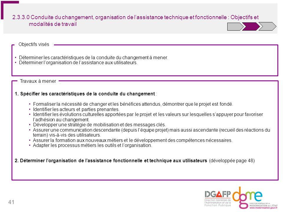 2.3.3.0 Conduite du changement, organisation de l'assistance technique et fonctionnelle : Objectifs et modalités de travail