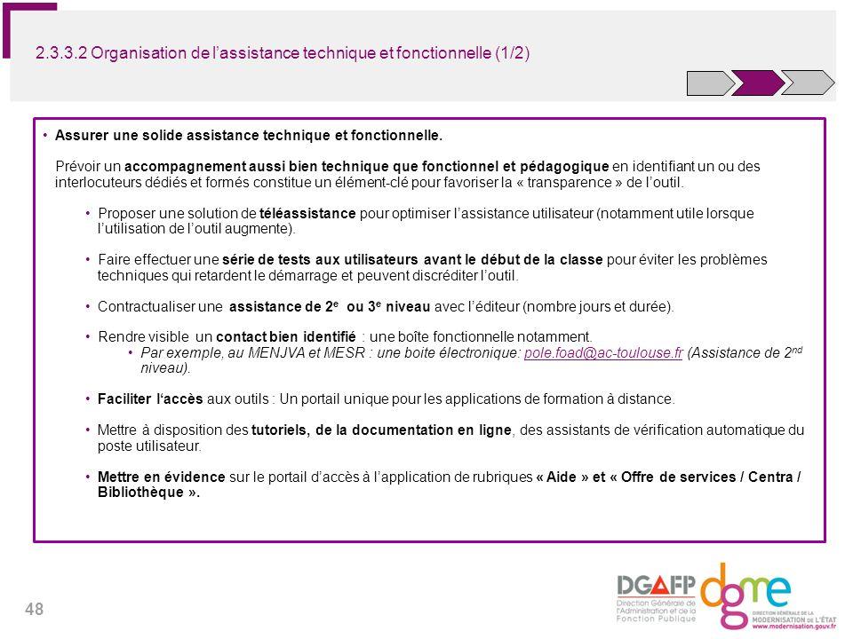 2.3.3.2 Organisation de l'assistance technique et fonctionnelle (1/2)