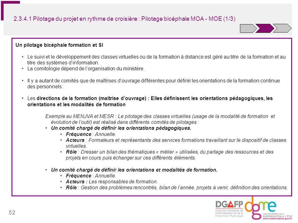 2.3.4.1 Pilotage du projet en rythme de croisière : Pilotage bicéphale MOA - MOE (1/3)