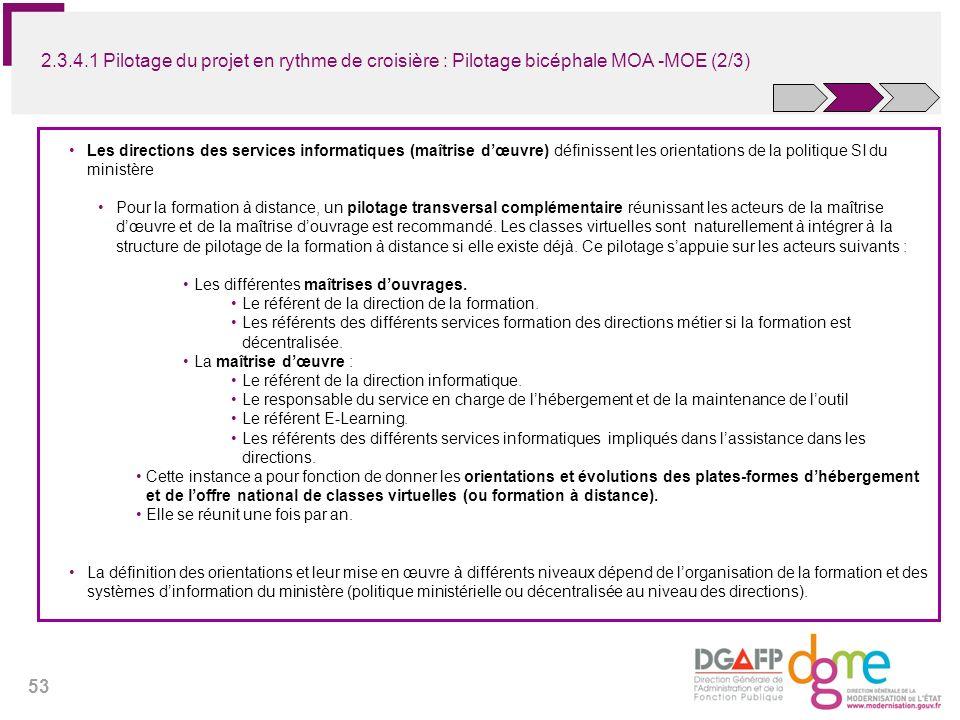 2.3.4.1 Pilotage du projet en rythme de croisière : Pilotage bicéphale MOA -MOE (2/3)