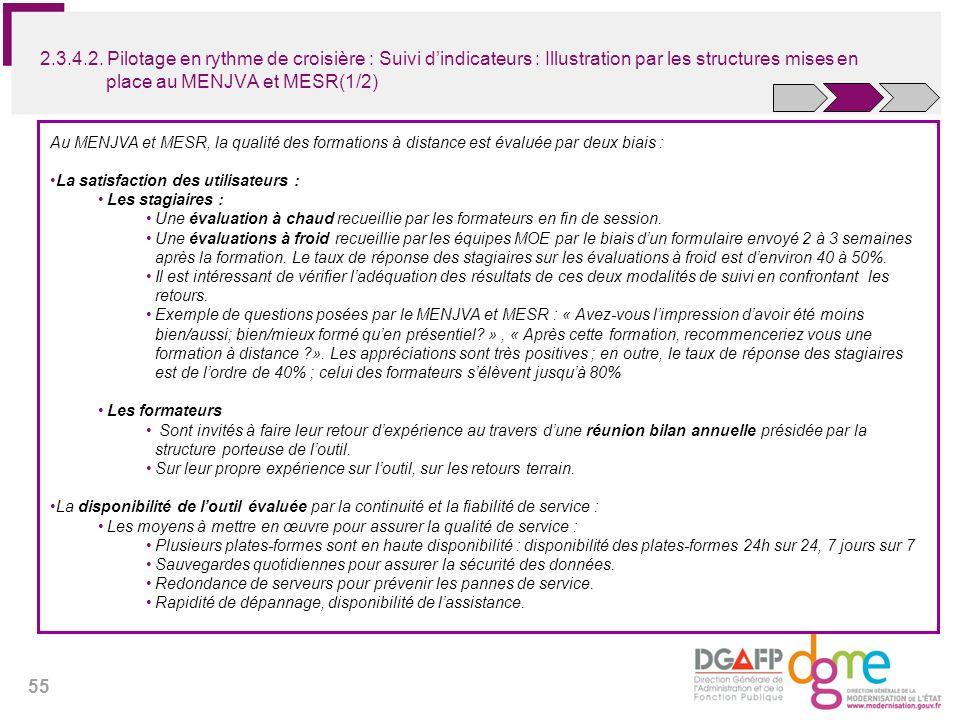 2.3.4.2. Pilotage en rythme de croisière : Suivi d'indicateurs : Illustration par les structures mises en place au MENJVA et MESR(1/2)