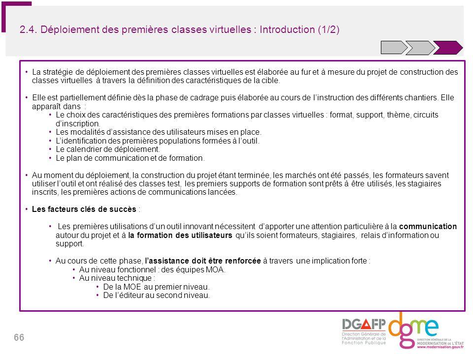 2.4. Déploiement des premières classes virtuelles : Introduction (1/2)