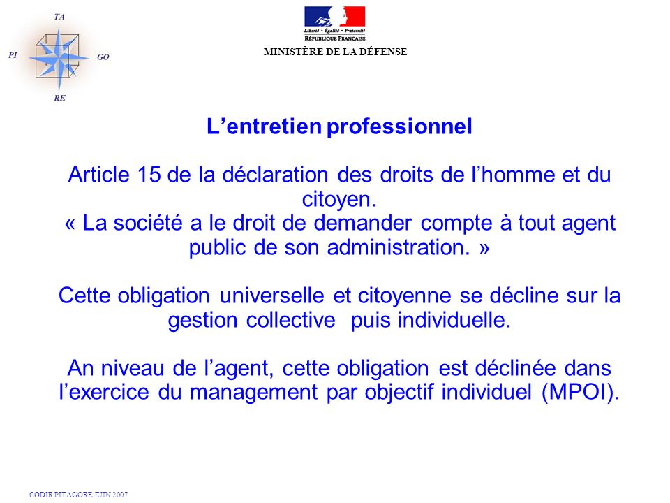 L'entretien professionnel Article 15 de la déclaration des droits de l'homme et du citoyen.