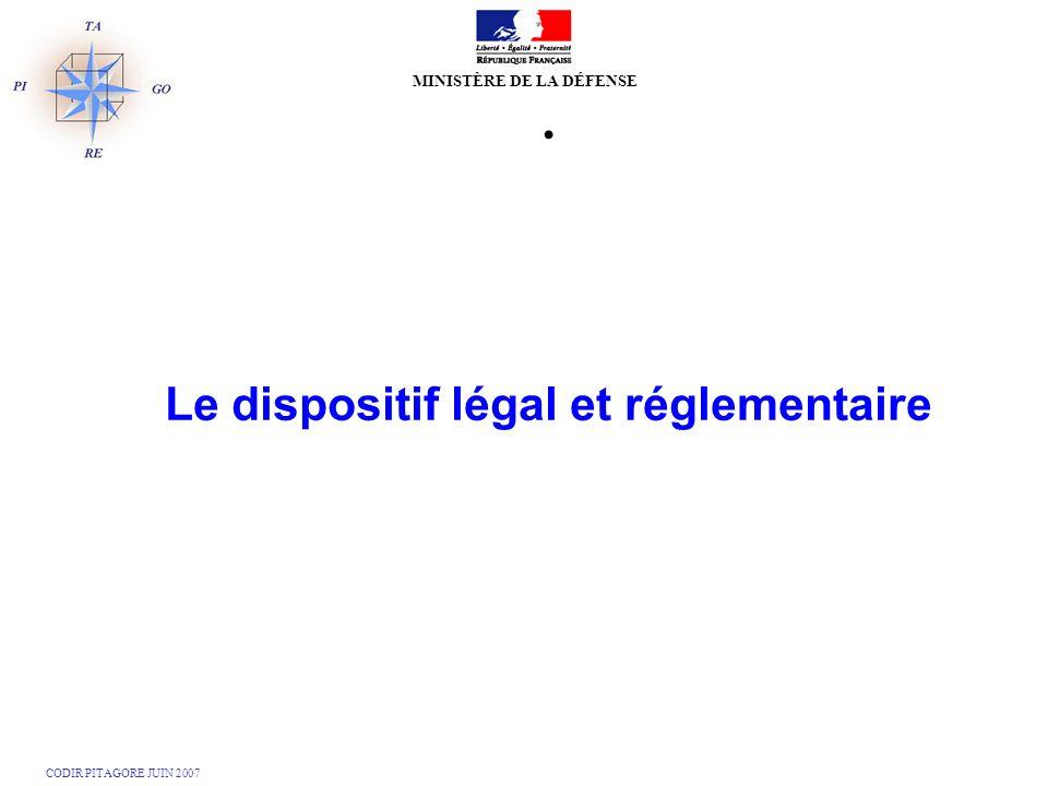 Le dispositif légal et réglementaire