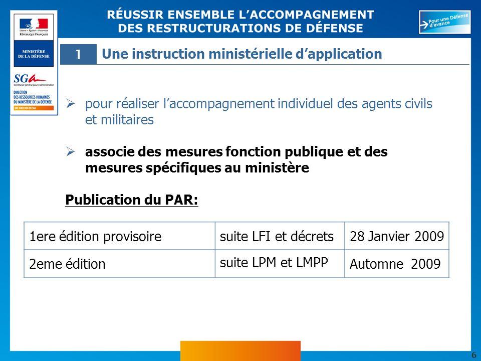 1 Une instruction ministérielle d'application. pour réaliser l'accompagnement individuel des agents civils et militaires.