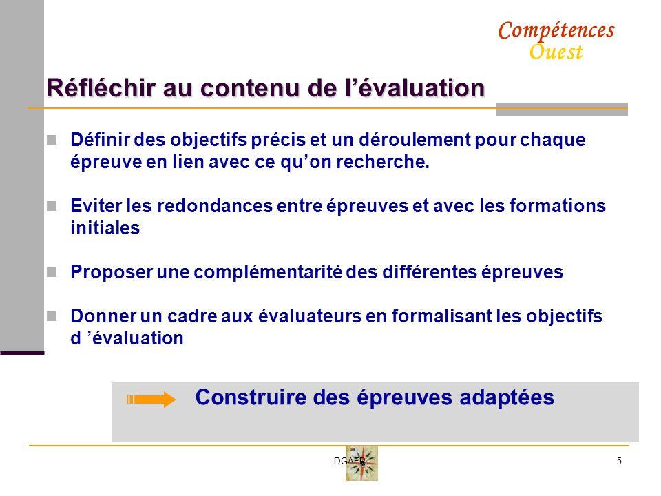 Réfléchir au contenu de l'évaluation