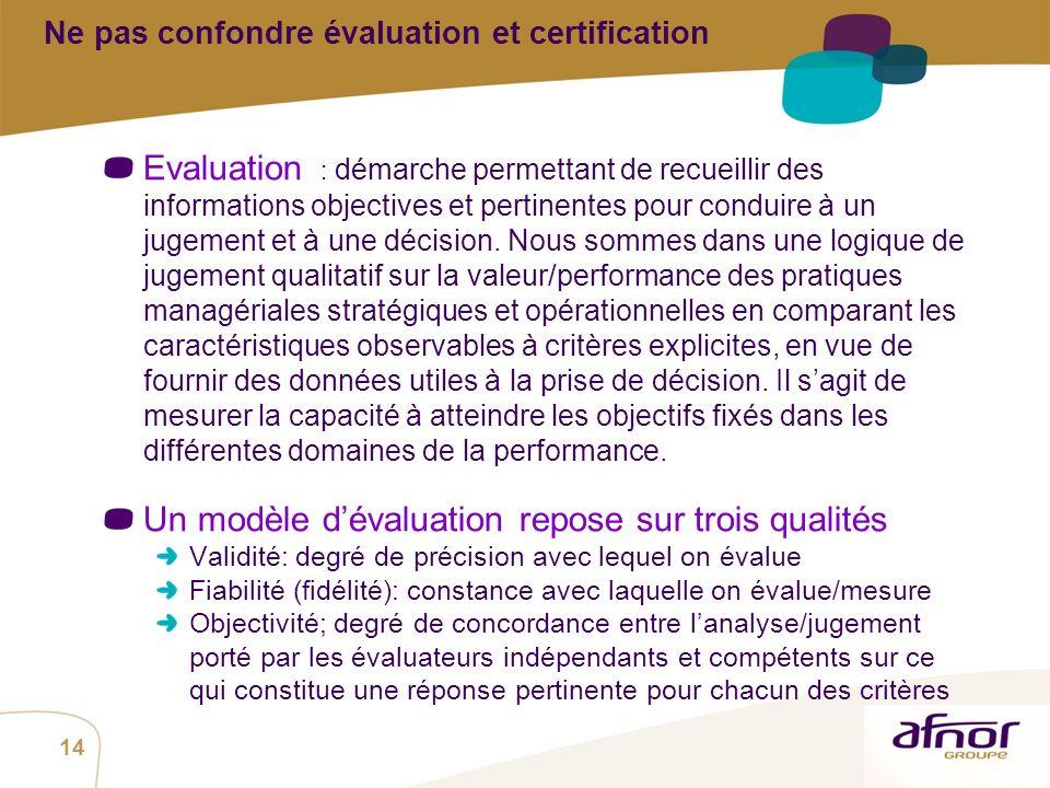 Ne pas confondre évaluation et certification