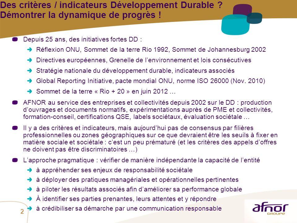Des critères / indicateurs Développement Durable