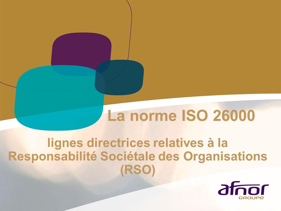La norme ISO 26000 lignes directrices relatives à la Responsabilité Sociétale des Organisations (RSO)