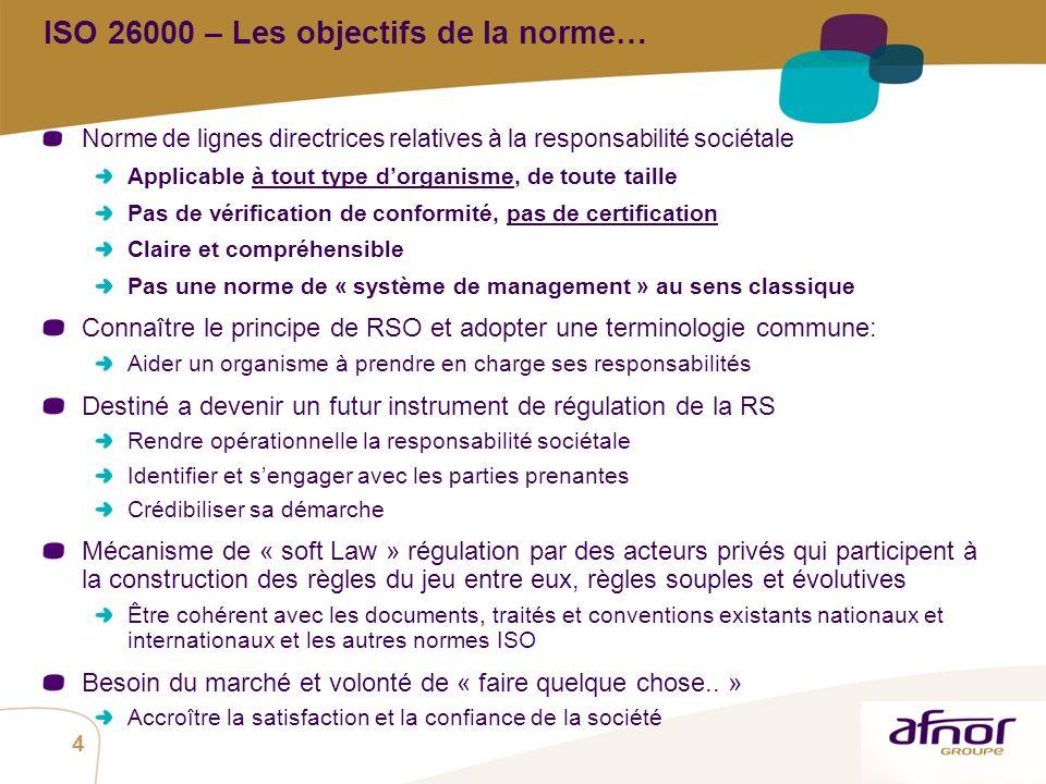 ISO 26000 – Les objectifs de la norme…