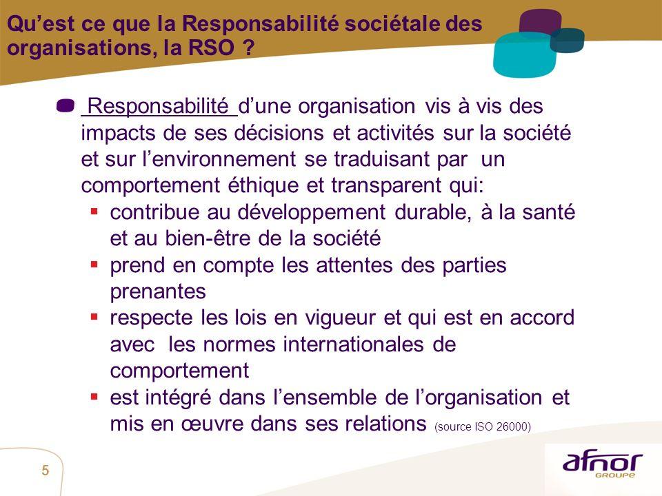 Qu'est ce que la Responsabilité sociétale des organisations, la RSO