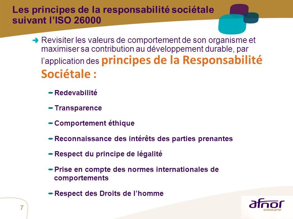 Les principes de la responsabilité sociétale suivant l'ISO 26000
