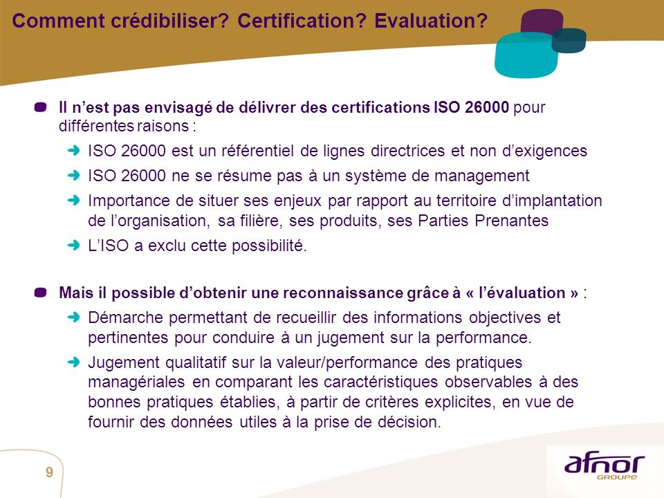 Comment crédibiliser Certification Evaluation