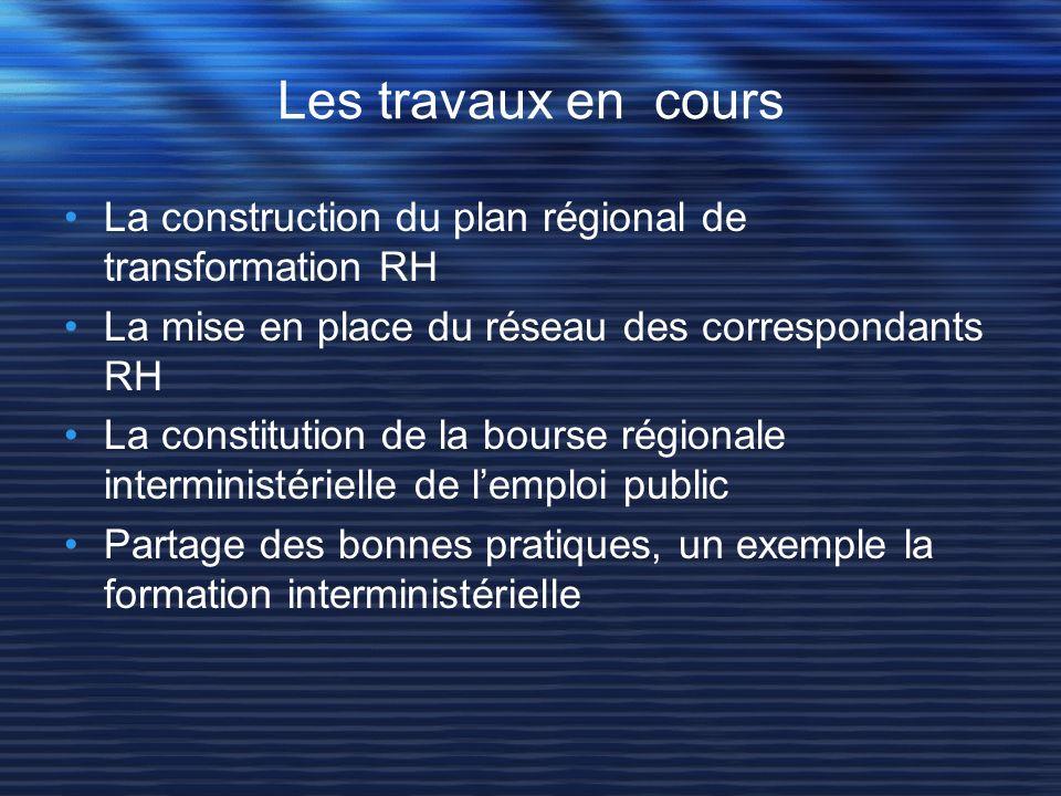 Les travaux en coursLa construction du plan régional de transformation RH. La mise en place du réseau des correspondants RH.
