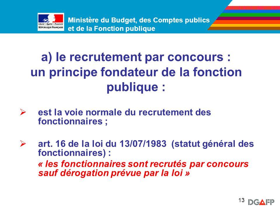 a) le recrutement par concours : un principe fondateur de la fonction publique :