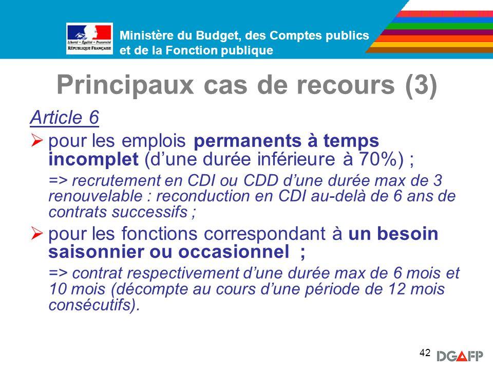 Principaux cas de recours (3)