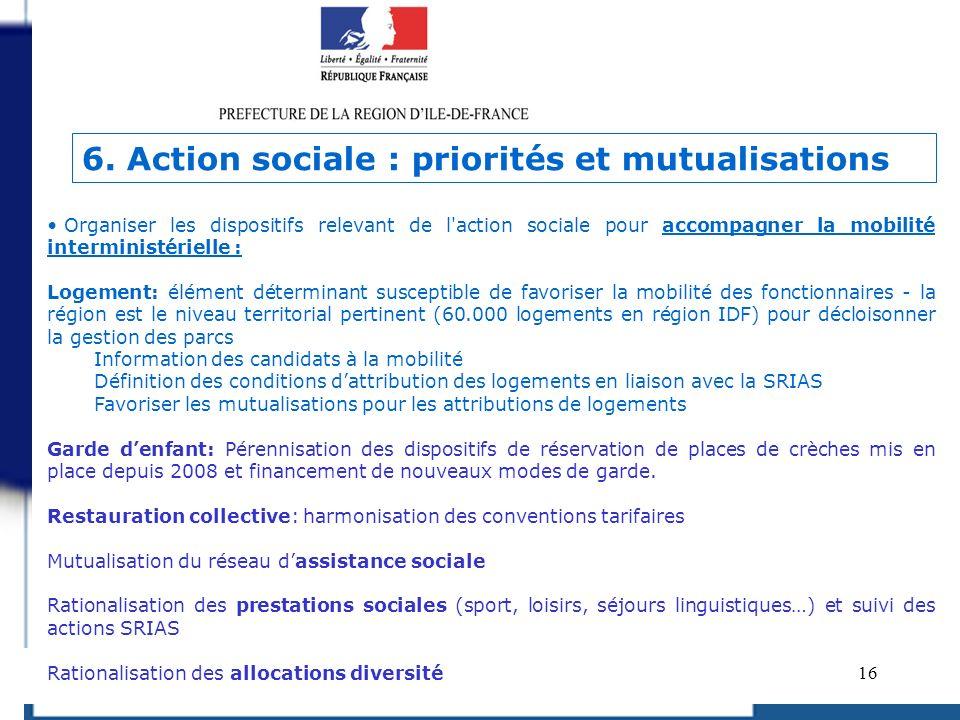 6. Action sociale : priorités et mutualisations