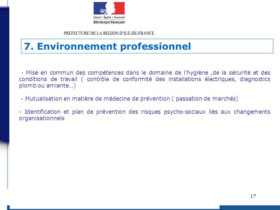 7. Environnement professionnel