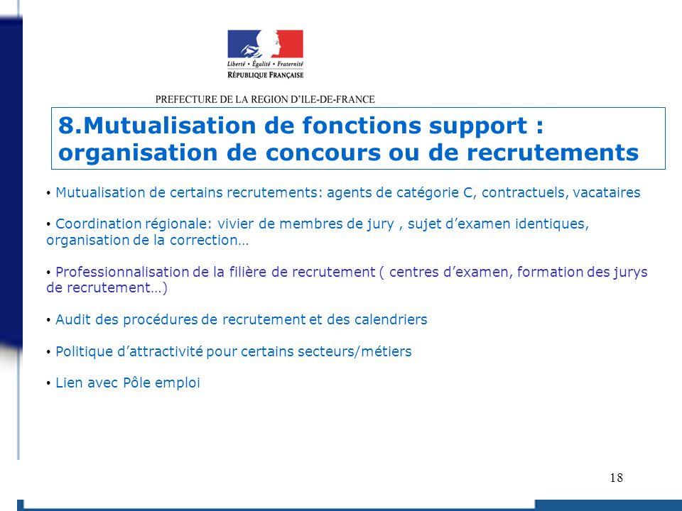 8.Mutualisation de fonctions support : organisation de concours ou de recrutements