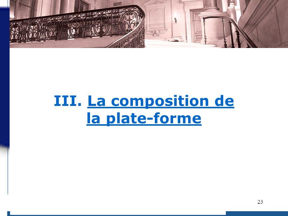 III. La composition de la plate-forme