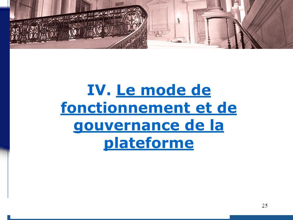 IV. Le mode de fonctionnement et de gouvernance de la plateforme