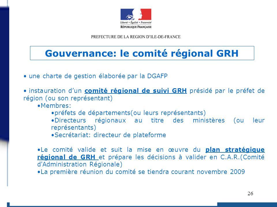 Gouvernance: le comité régional GRH