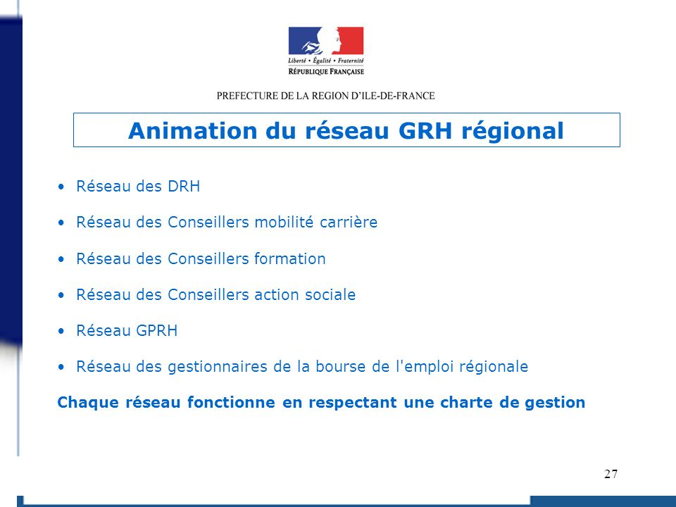Animation du réseau GRH régional