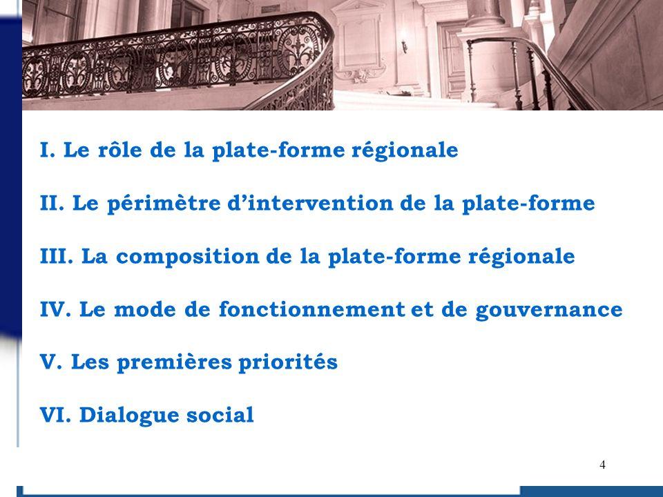 I. Le rôle de la plate-forme régionale II