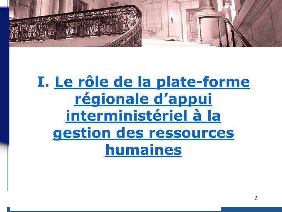 I. Le rôle de la plate-forme régionale d'appui interministériel à la gestion des ressources humaines