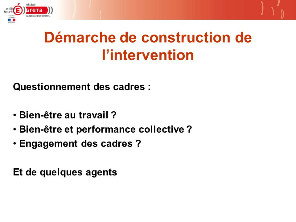 Démarche de construction de l'intervention